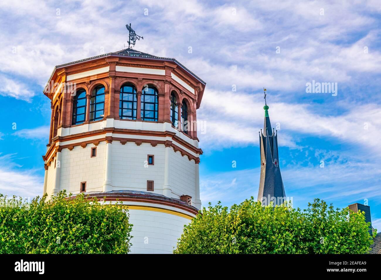 Schifffahrt museum and Saint Lambertus church in Dusseldorf, Germany Stock Photo