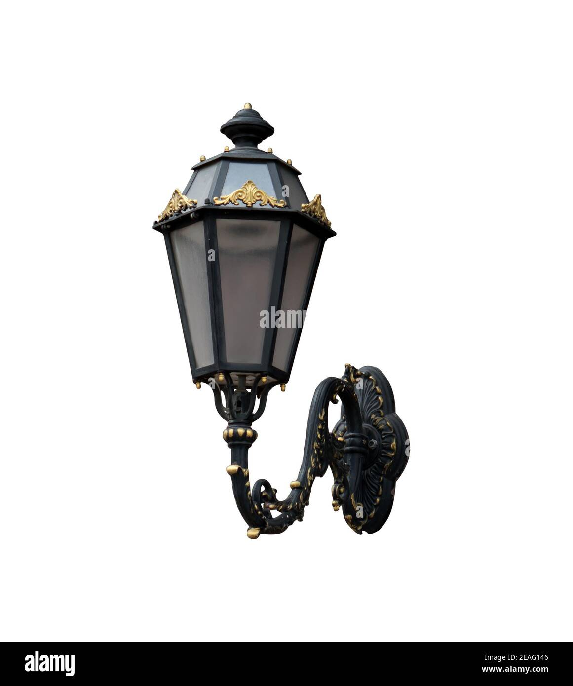Vintage wall street lamp, on white background isolated Stock Photo