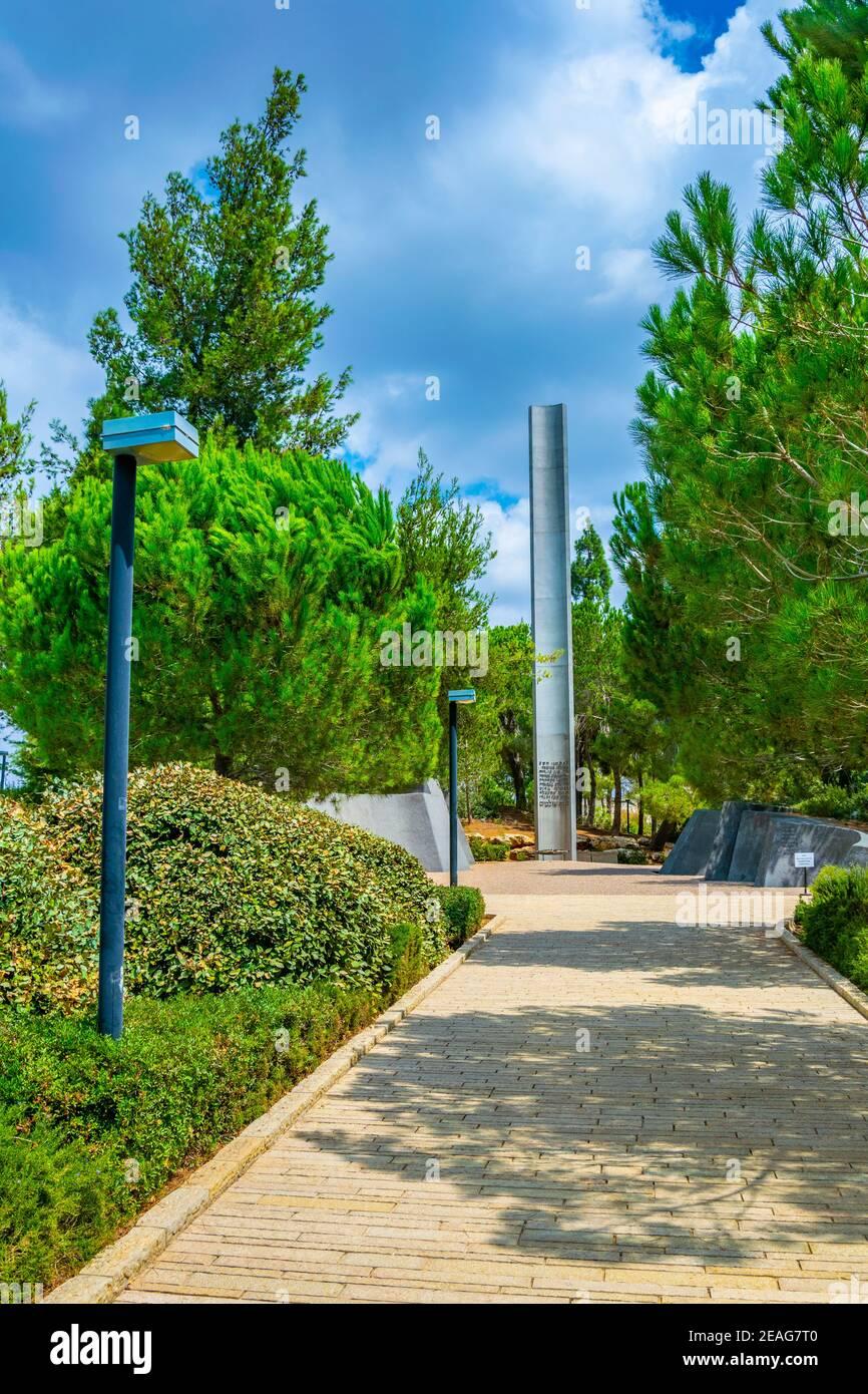 Monument to heroism at Yad Vashem memorial in Jerusalem, Israel Stock Photo