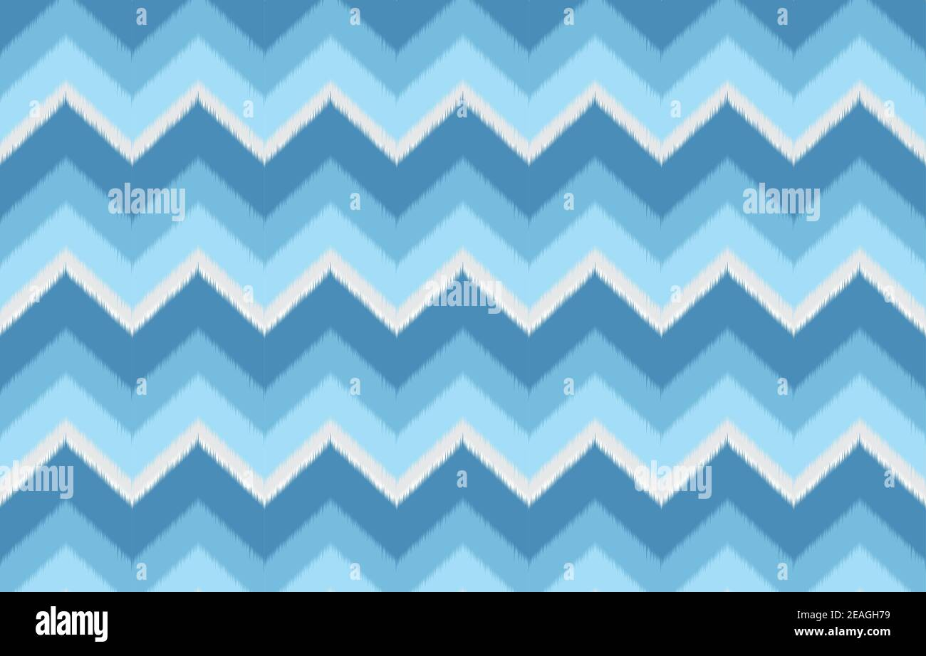 Ikat zigzag ethnic pattern in blue color. Design for carpet, wallpaper, clothing, wrapping, batik, fabric, Vector illustration embroidery style in Eth Stock Vector