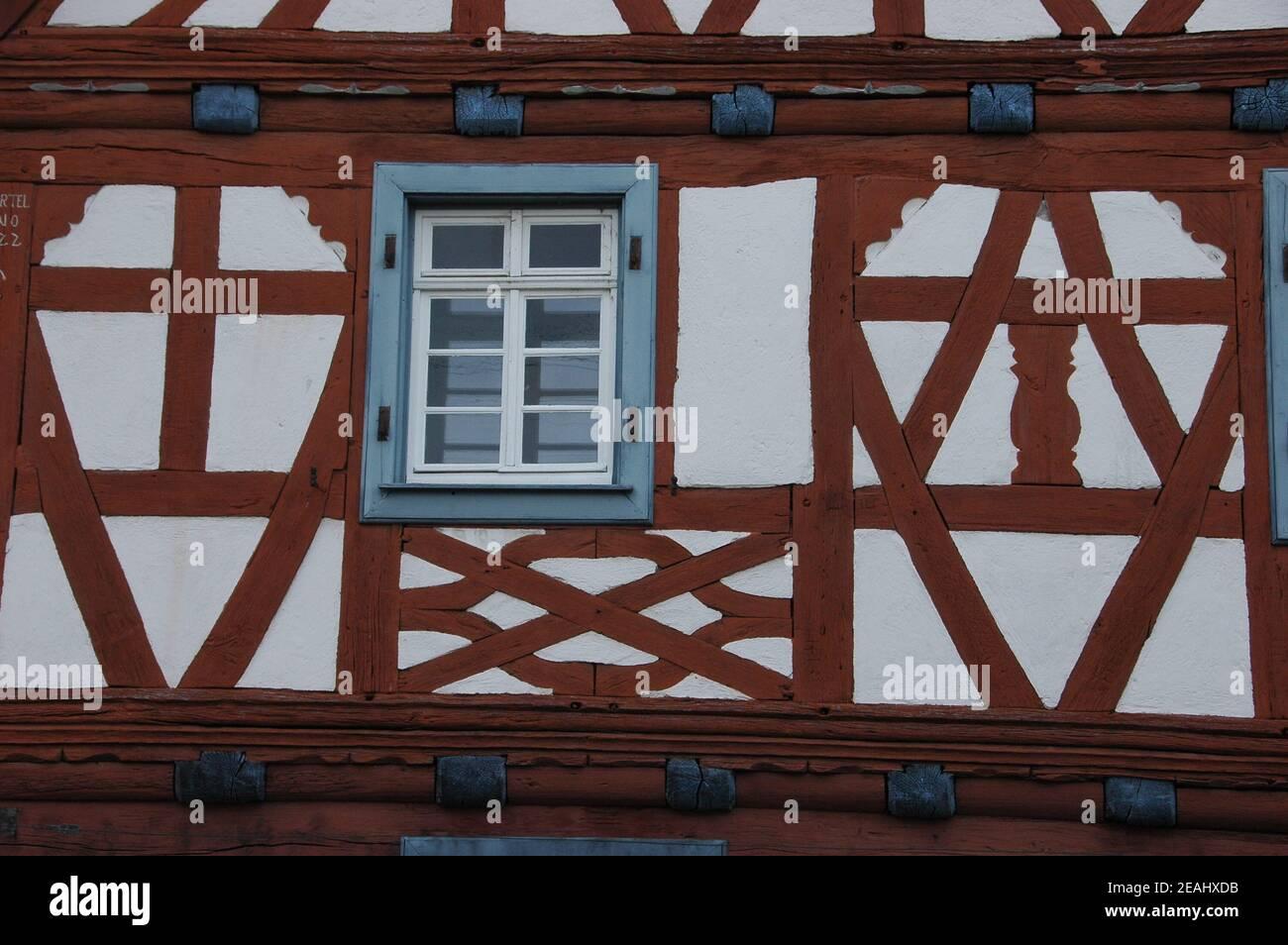 Half-timbered house in Neuburg Stock Photo