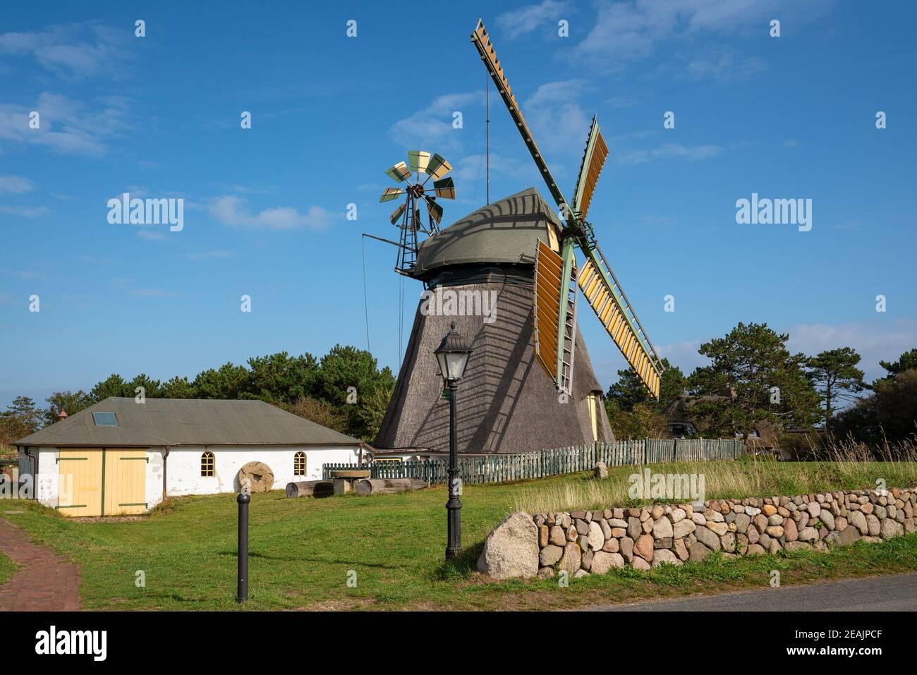 Windmill, Nebel, Amrum, Germany Stock Photo