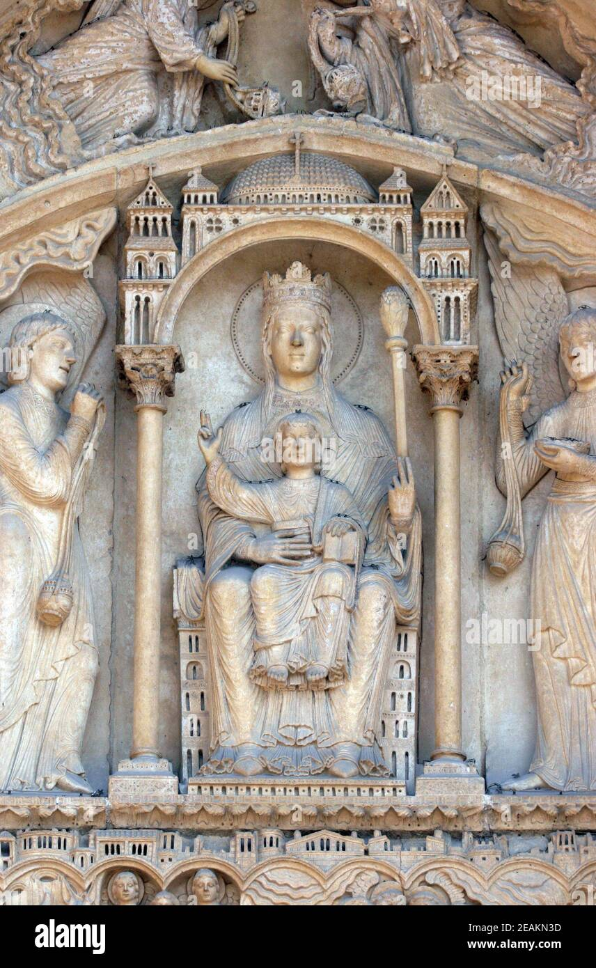 Virgin and Child on a throne, Notre Dame Cathedral, Paris, Portal of St. Anne Stock Photo