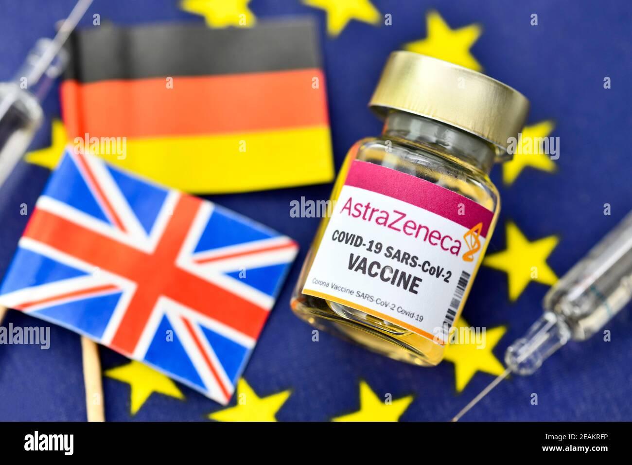 Vaccine Vial On EU Flag, AstraZeneca Vaccine Supply Stock Photo
