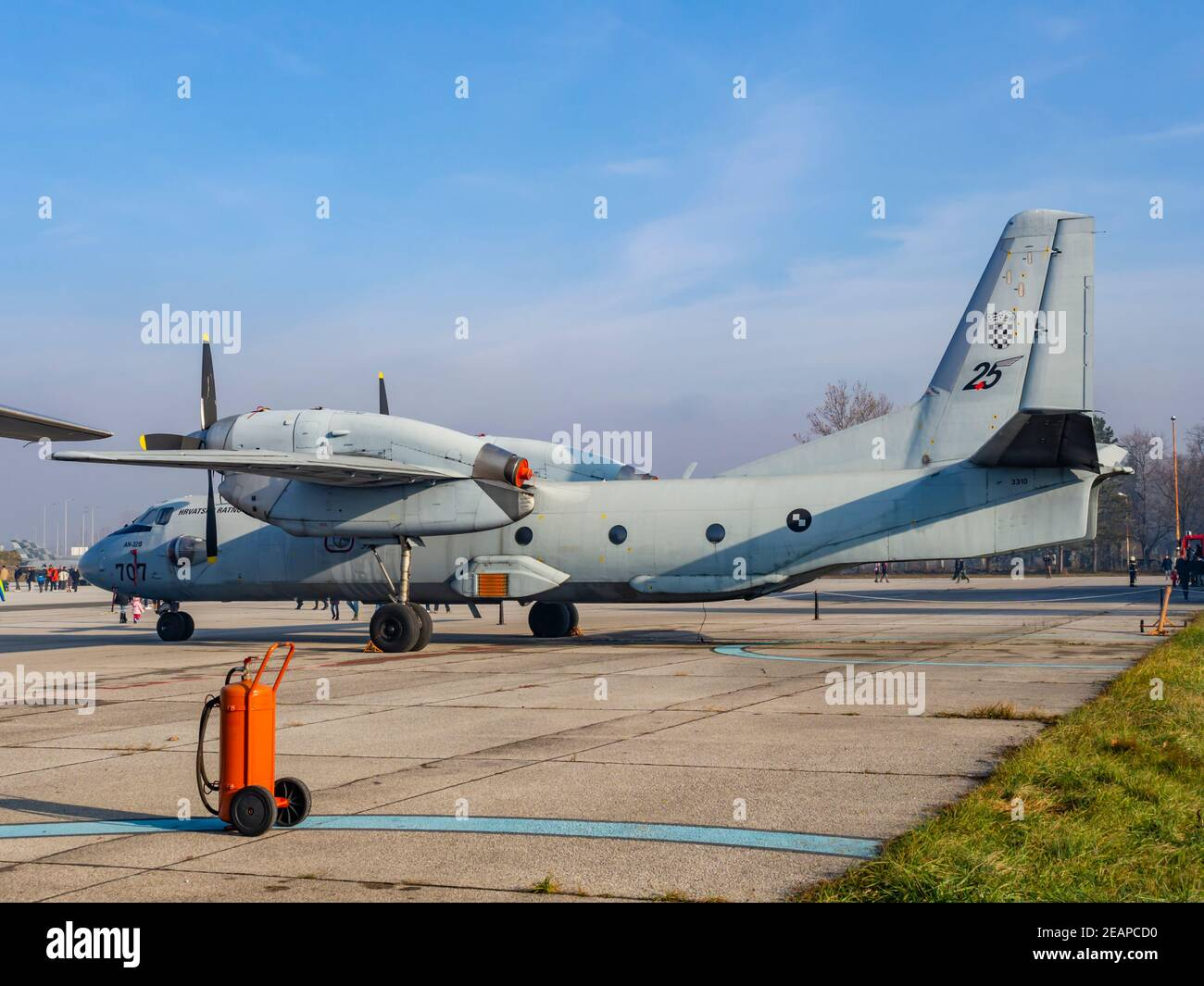 Croatian An-32b aircraft in Pleso Air Base 25 years of HRZ number marking Stock Photo