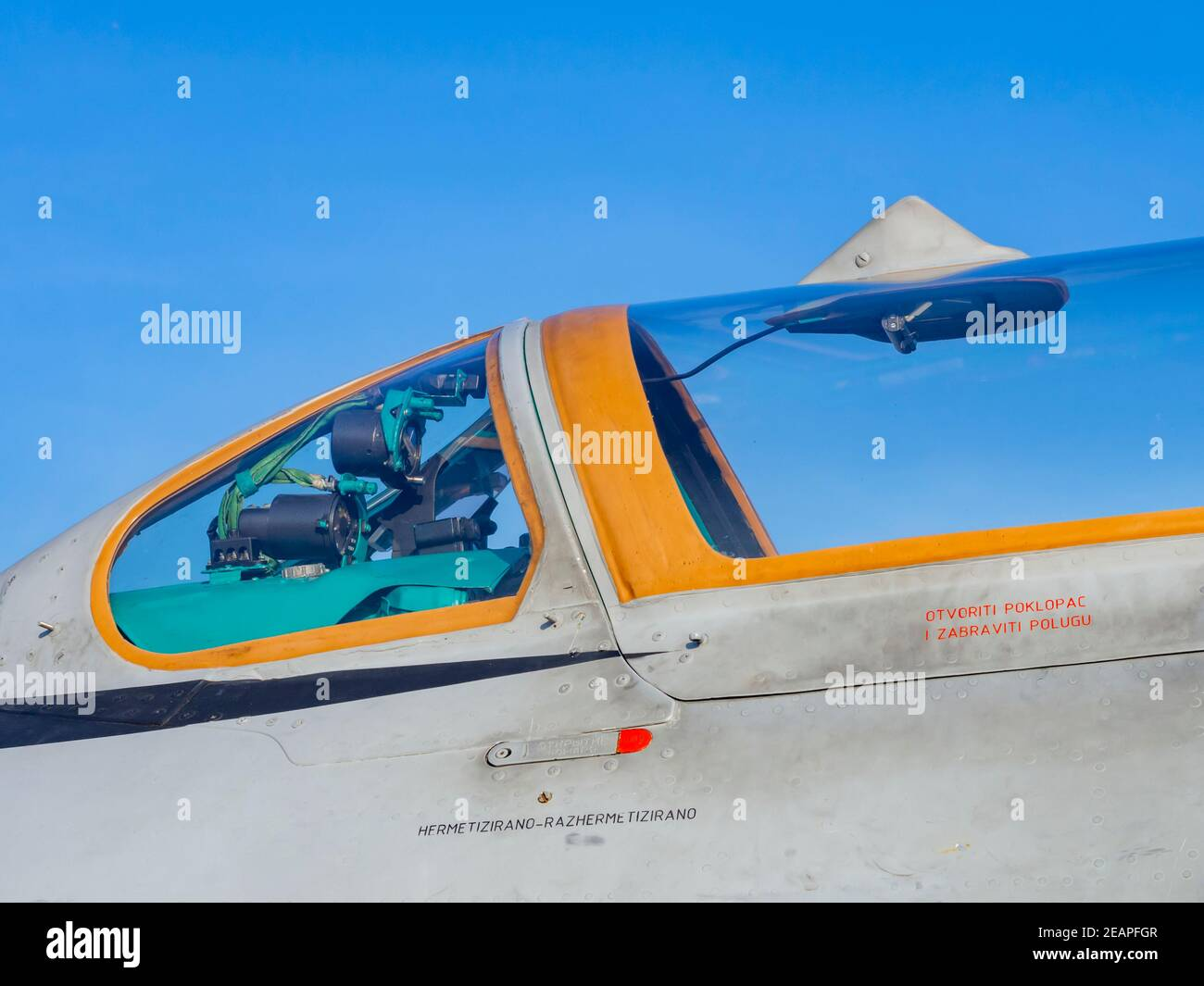 Croatian MiG21 bis D 116 cockpit detail with Yellow glass coaming Stock Photo