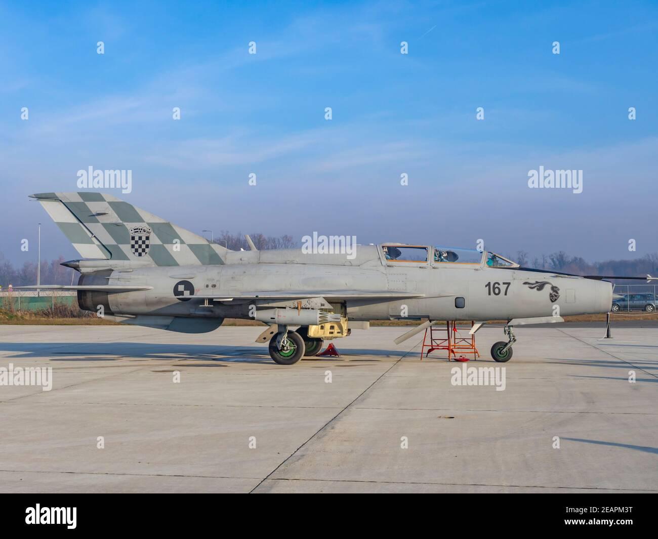 Croatian MiG21UM 25 years of HRZ number marking Stock Photo