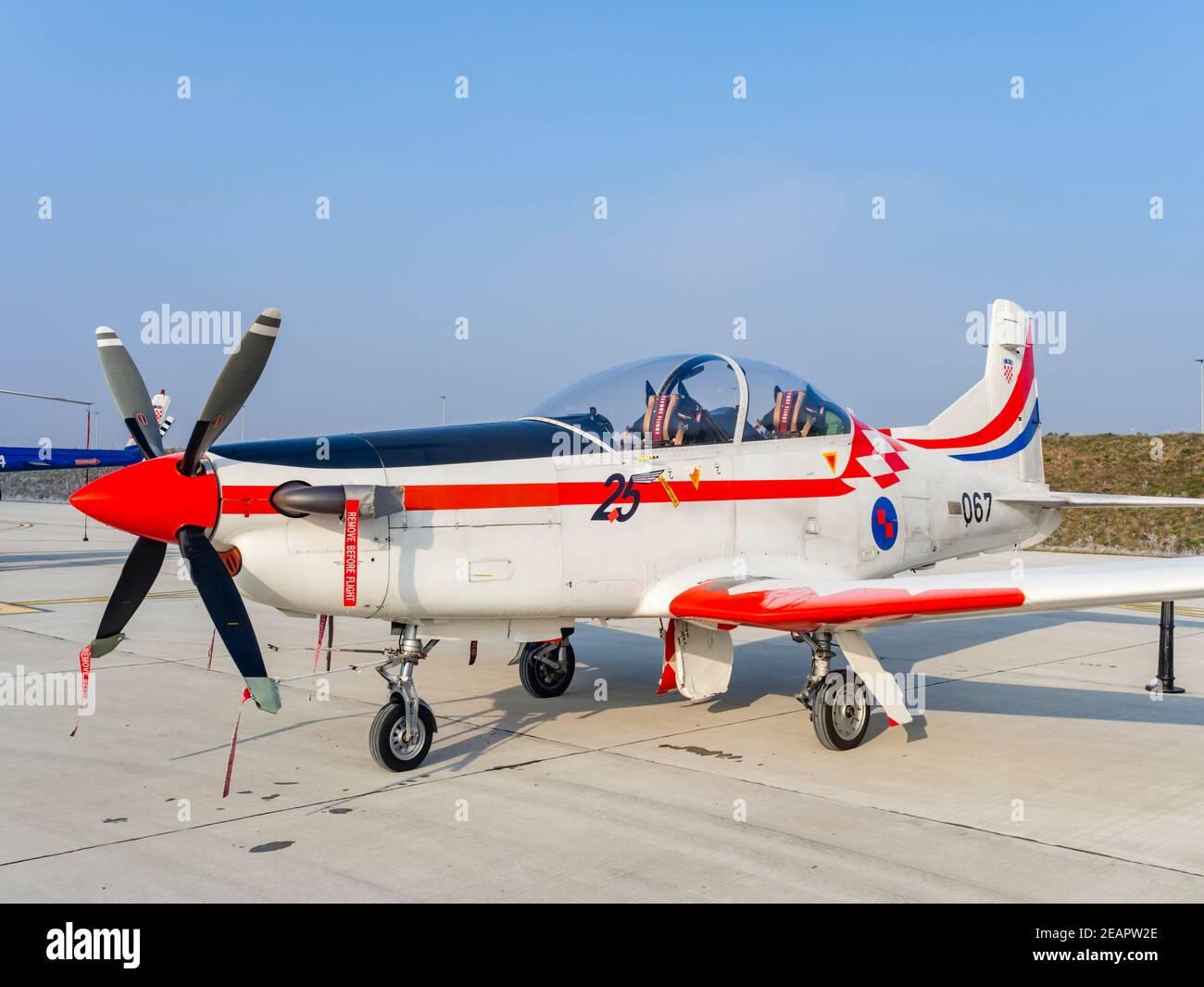 Croatian Pilatus PC-9 067 of Krila oluje Wings of storm aerobatic group 25 years of HRZ number marking Stock Photo