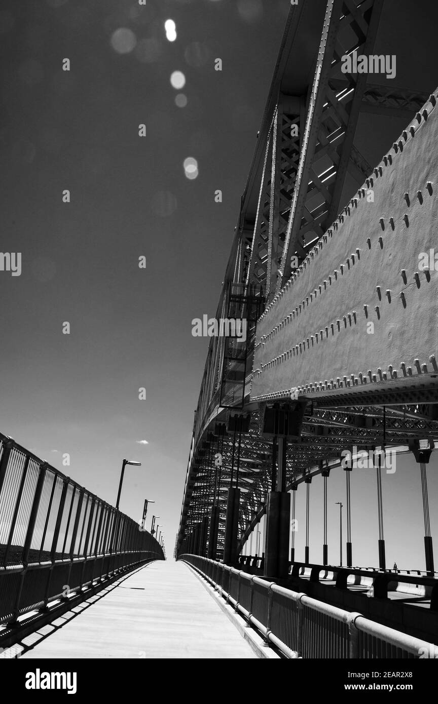 Deserted Bayonne Bridge on a clear, sunny day Stock Photo
