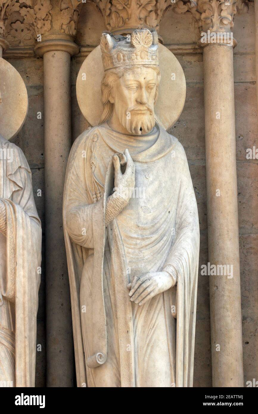 King, Notre Dame Cathedral, Paris, Portal of St. Anne Stock Photo