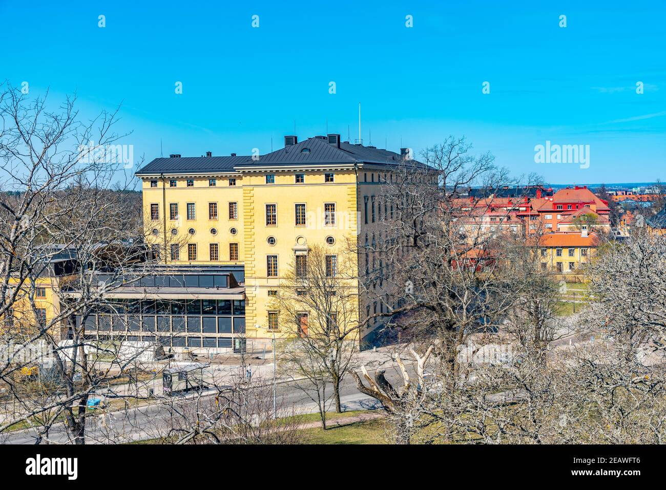 Aerial view of the Uppsala university library in Sweden Stock Photo