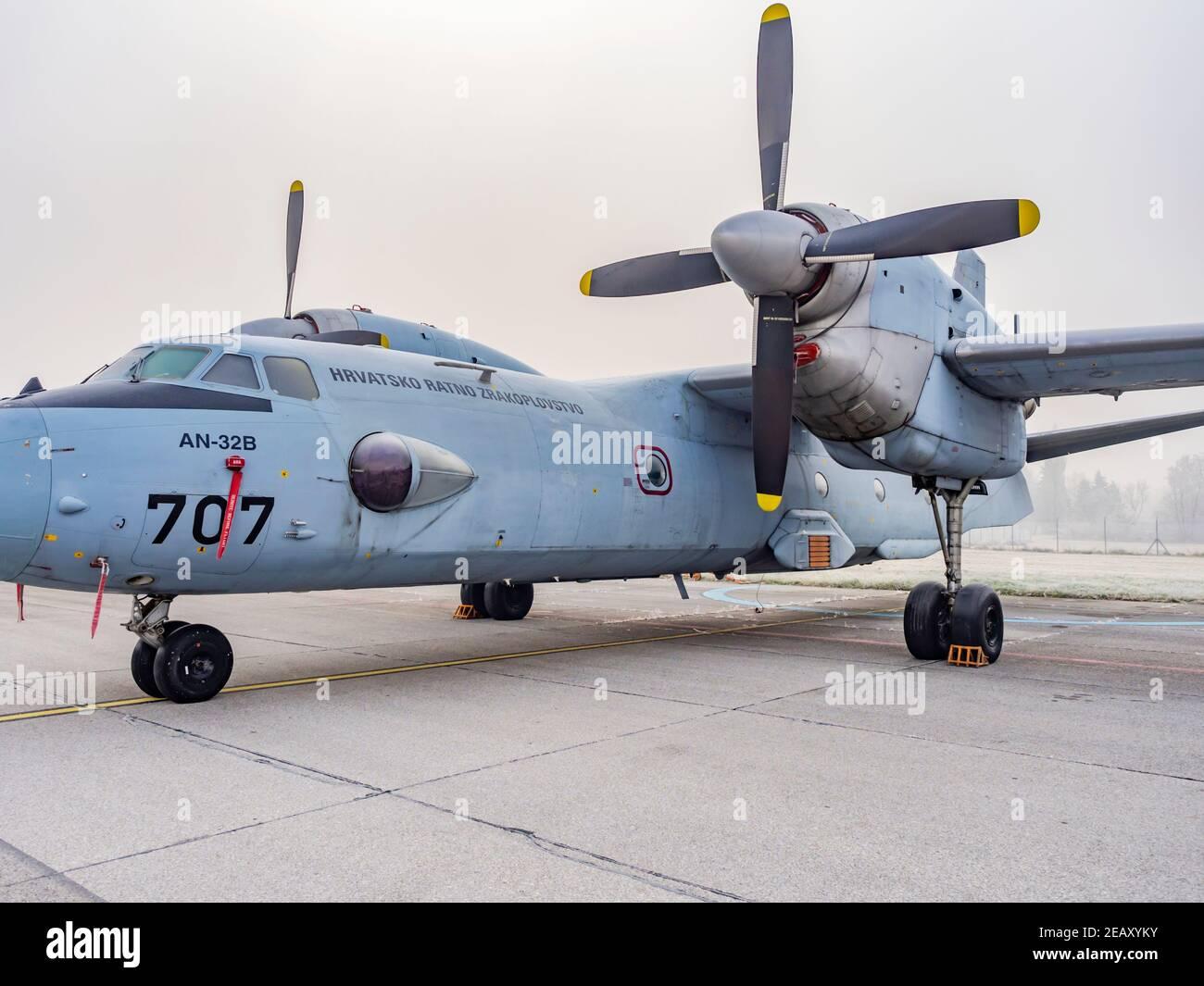 Croatian An-32b aircraft in Pleso Air Base Stock Photo