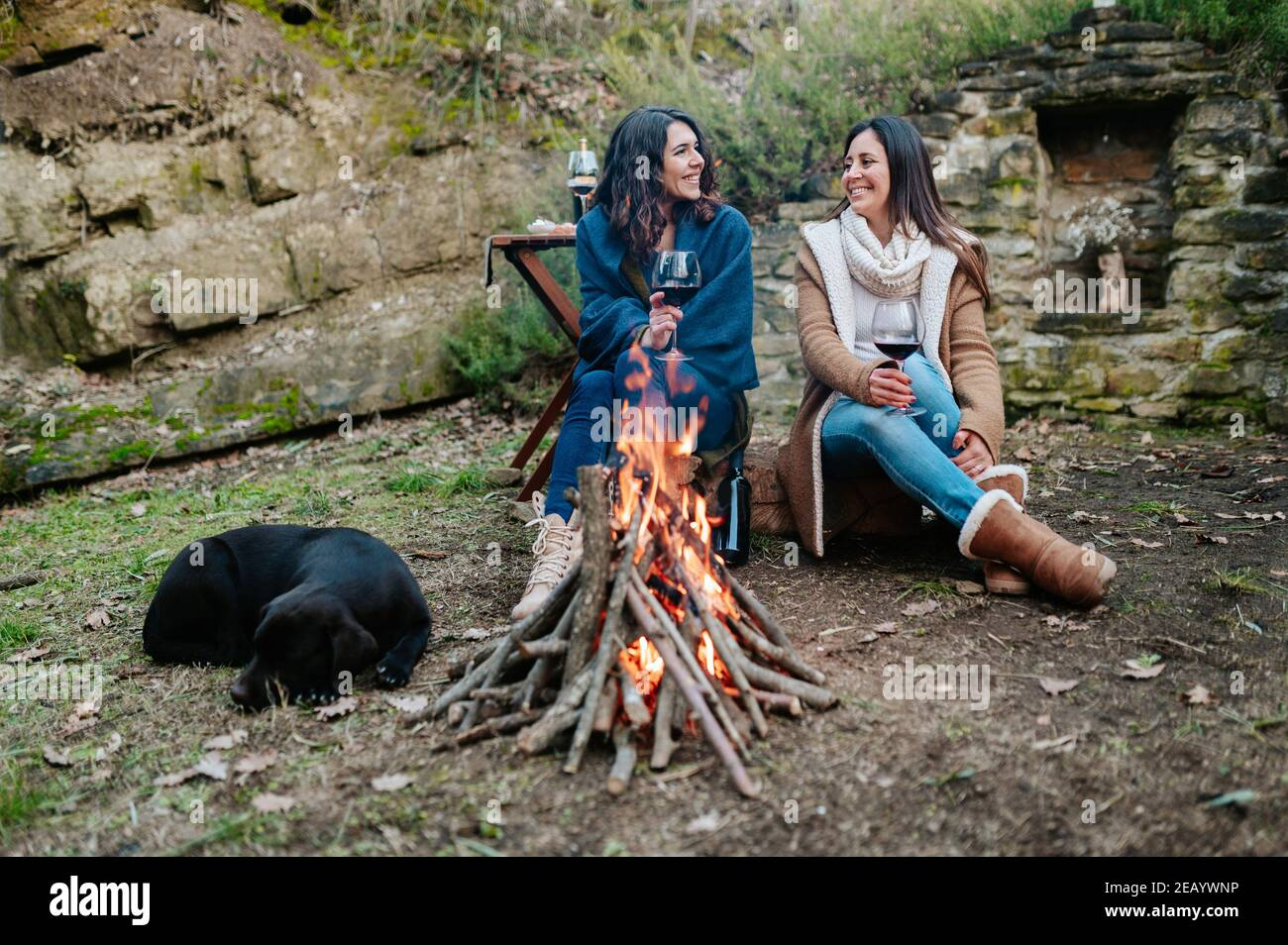 young happy women talking together while drinking glass of red wine. Females warming next to the fire with dog resting. Campfire, outdoors activities Stock Photo