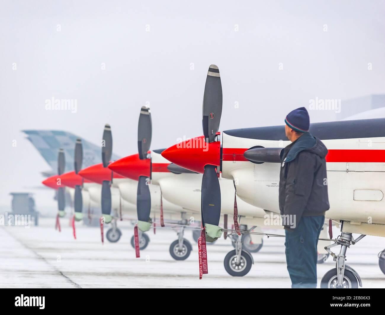 Croatian Pilatus PC-9 of Krila oluje Wings of storm aerobatic group Stock Photo