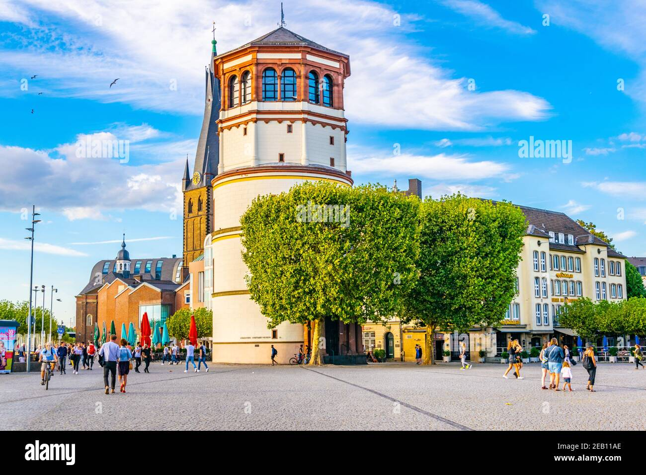 DUSSELDORF, GERMANY, AUGUST 10, 2018: View of Burgplatz with Schifffahrt museum and Saint Lambertus church in Dusseldorf, Germany Stock Photo