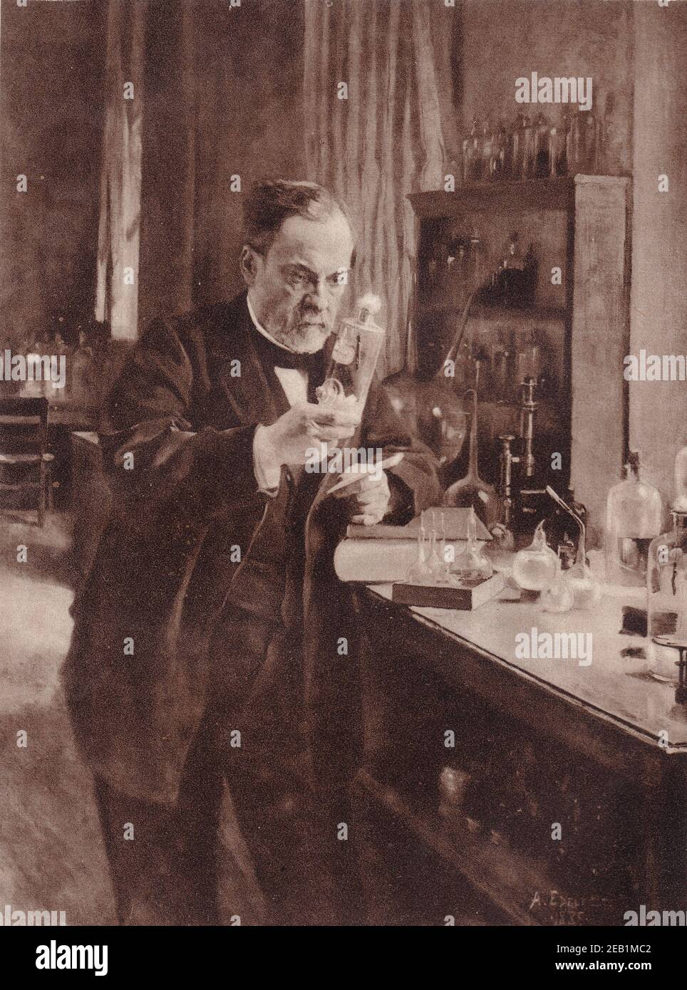 The Great French Chemist, Louis Pasteur, at work in his laboratory from the painting by Edelfelt. Stock Photo
