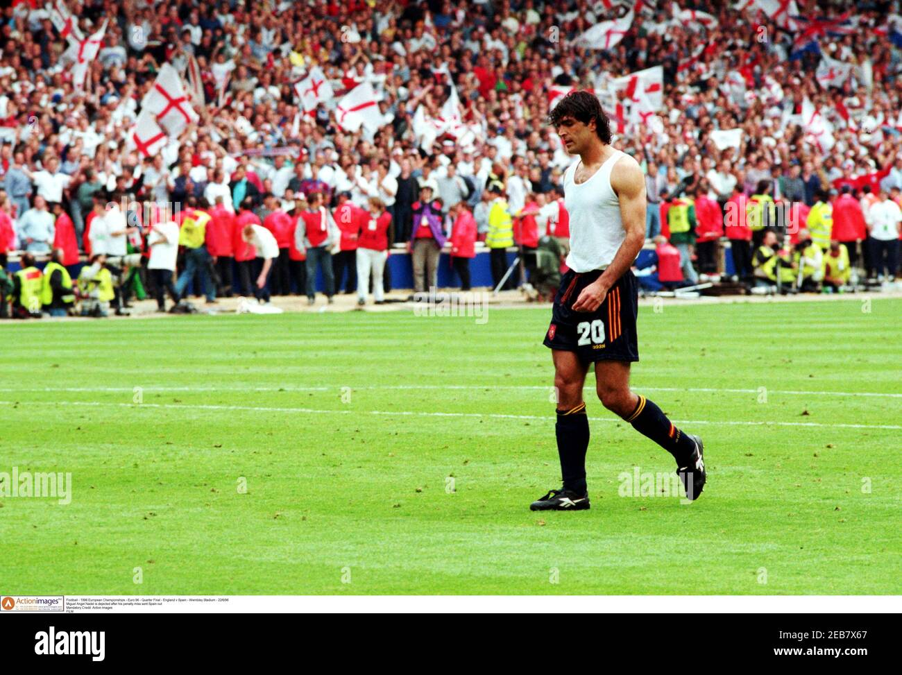 Football - 1996 European Championships - Euro 96 - Quarter Final - England v Spain - Wembley Stadium - 22/6/96  Miguel Angel Nadal is dejected after his penalty miss sent Spain out  Mandatory Credit: Action Images  FILM Stock Photo