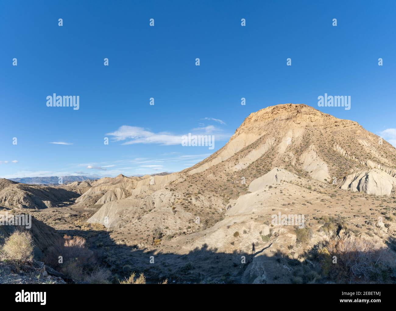 A view of the Tabernas desert in Andalusia Stock Photo