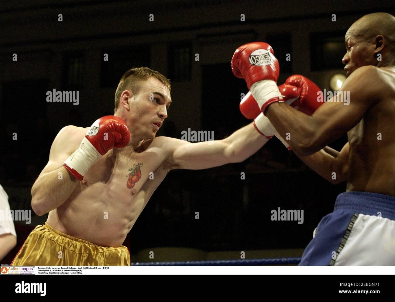 Boxing - Colin Lynes vs Samuel Malinga - York Hall Bethnal Green - 8/3/03  Colin Lynes (L) in action v Samuel Malinga (R)  Mandatory Credit:Action Images / John Sibley Stock Photo