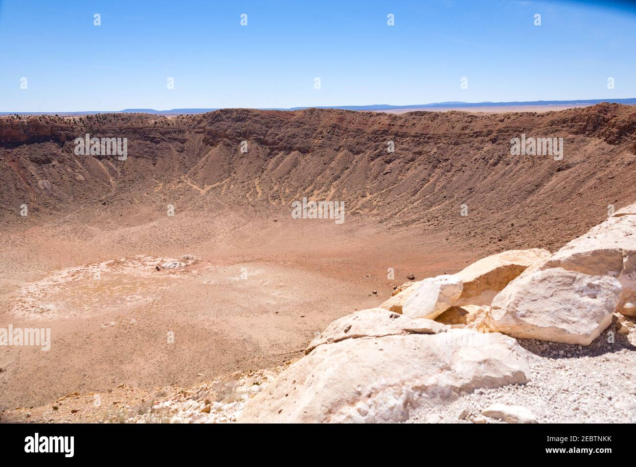 Winslow plains taken from the rim of a meteor crater Arizona USA Stock Photo
