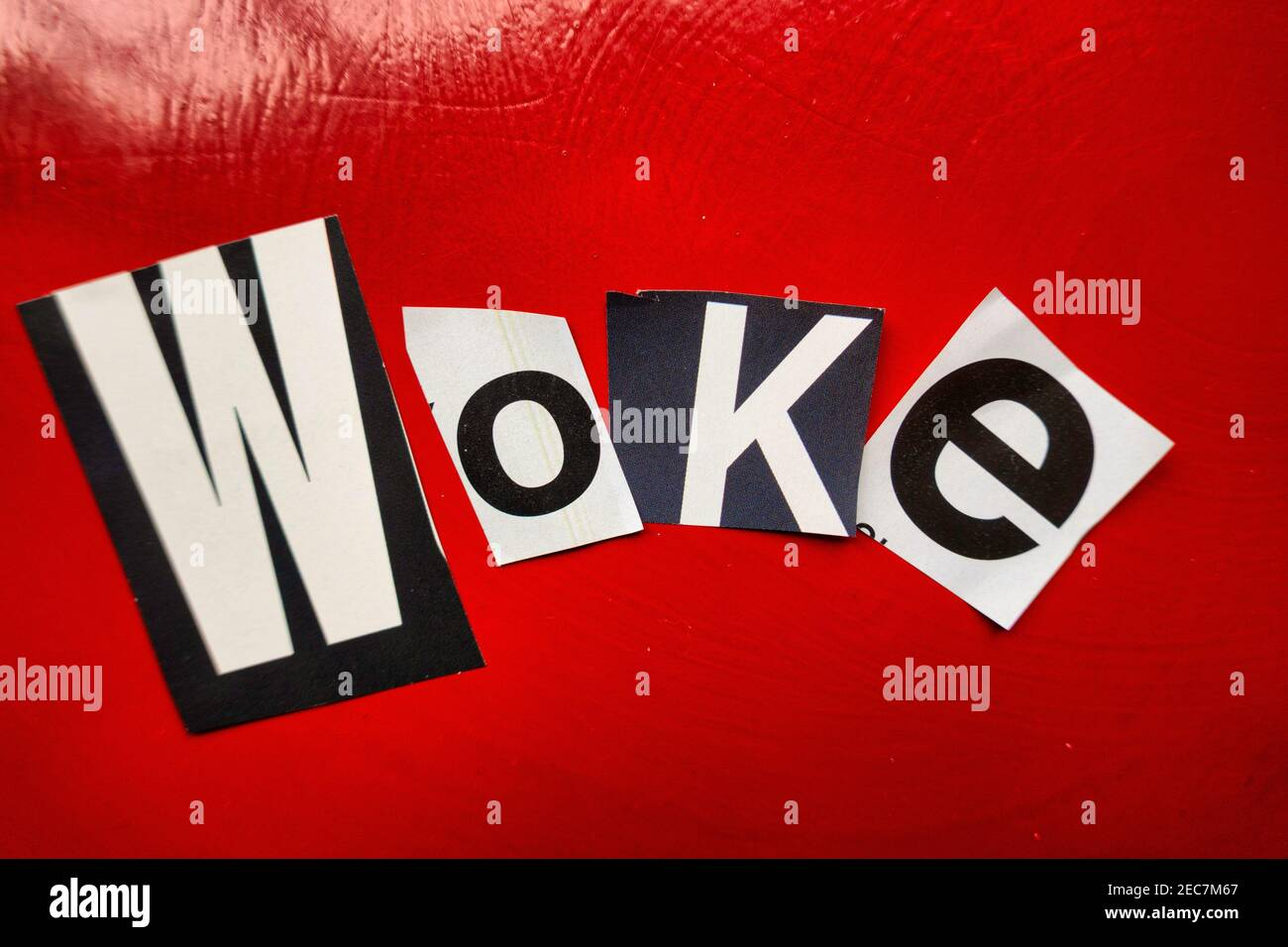 """The word """"WOKE"""" using cut-out paper letters in the ransom note effect typography, USA Stock Photo"""