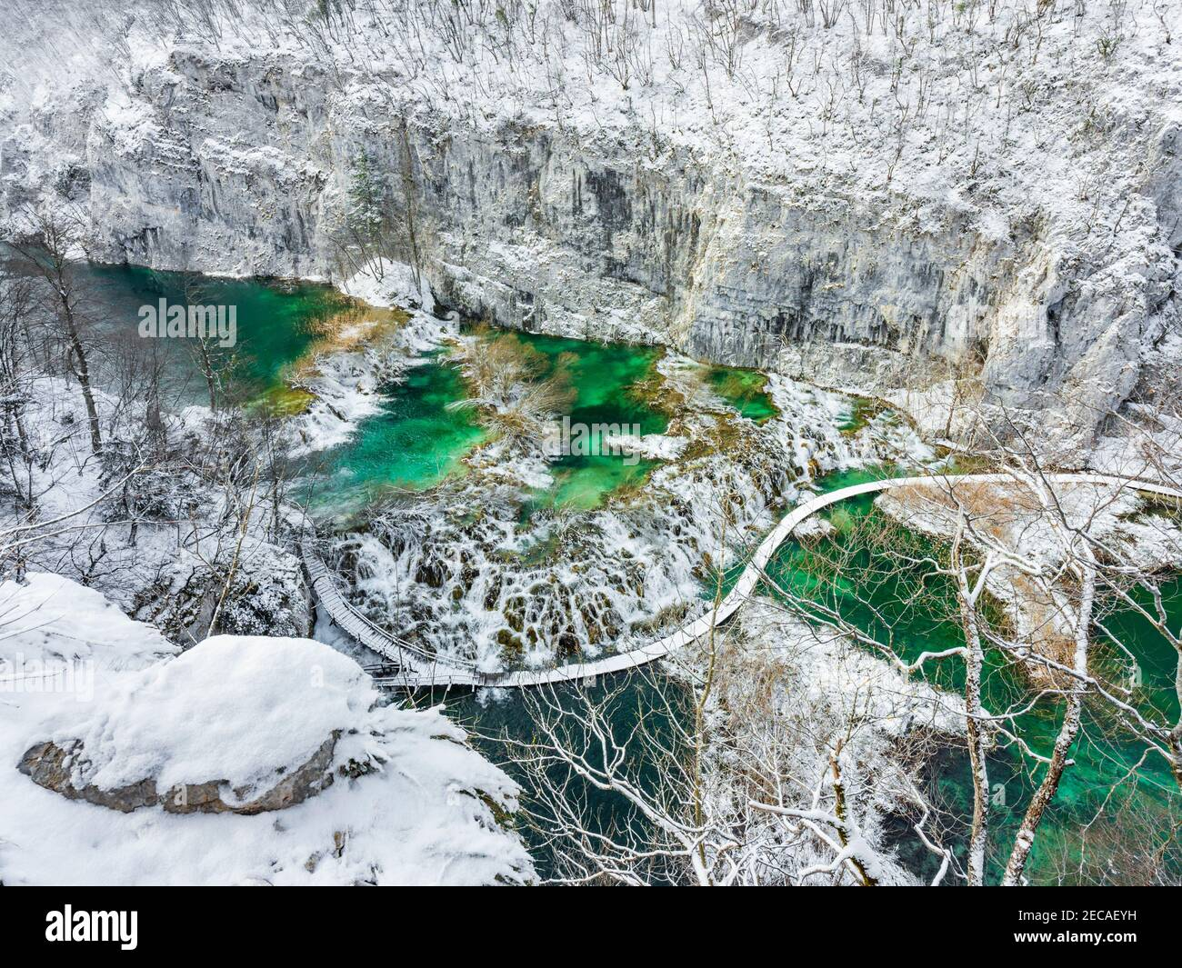 Overwater national park Plitvice lakes Croatia Europe Winter under covered cover snow ice waterflow water flowing flow Stock Photo