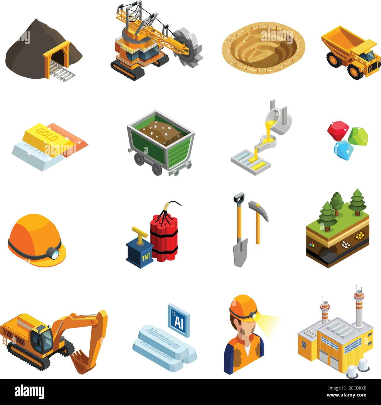 Mining isometric icons set with minerals symbols isolated vector illustration Stock Vector