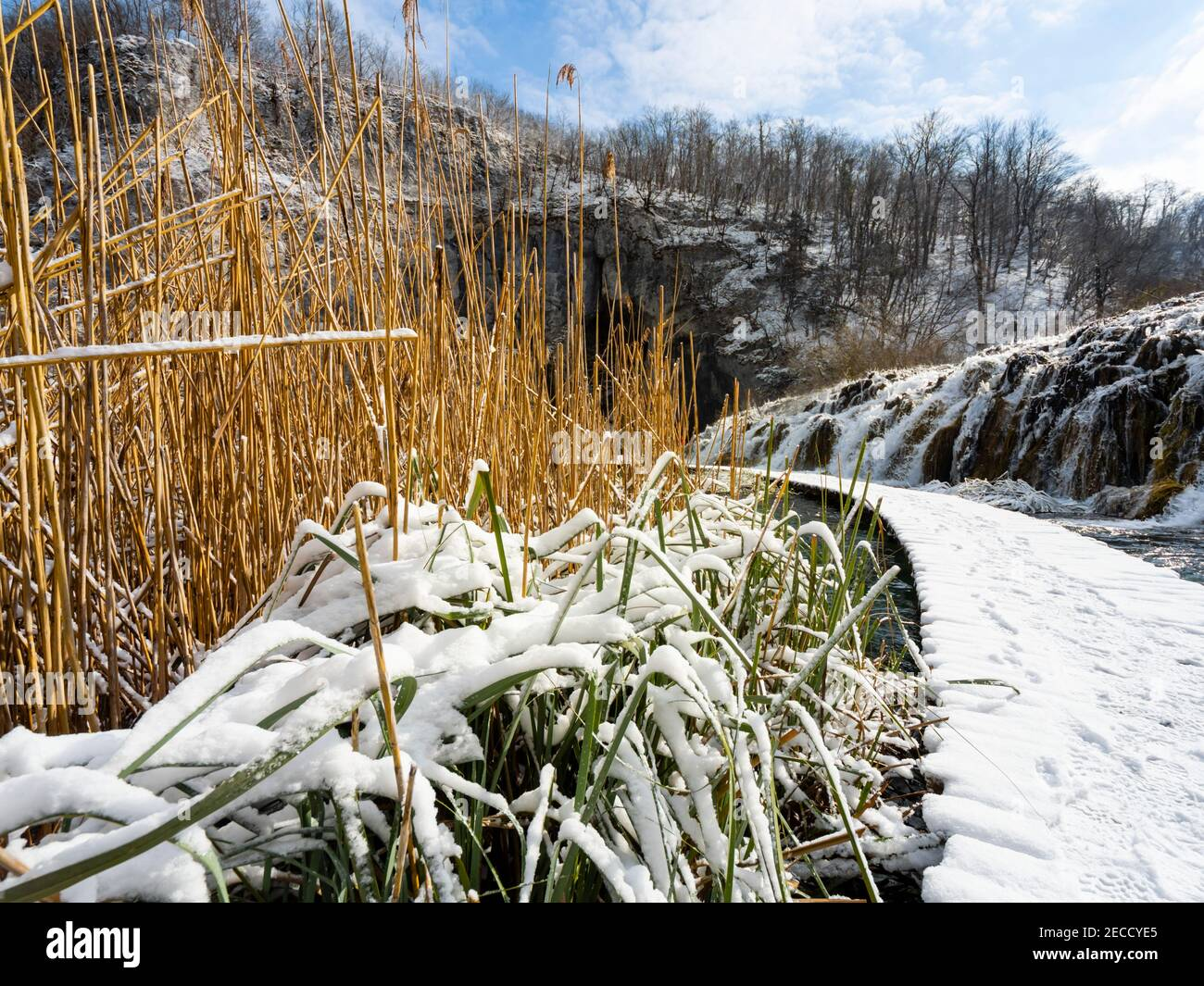 Cascading water national park Plitvice lakes Croatia Europe Winter under covered cover snow ice waterflow water flowing flow Stock Photo