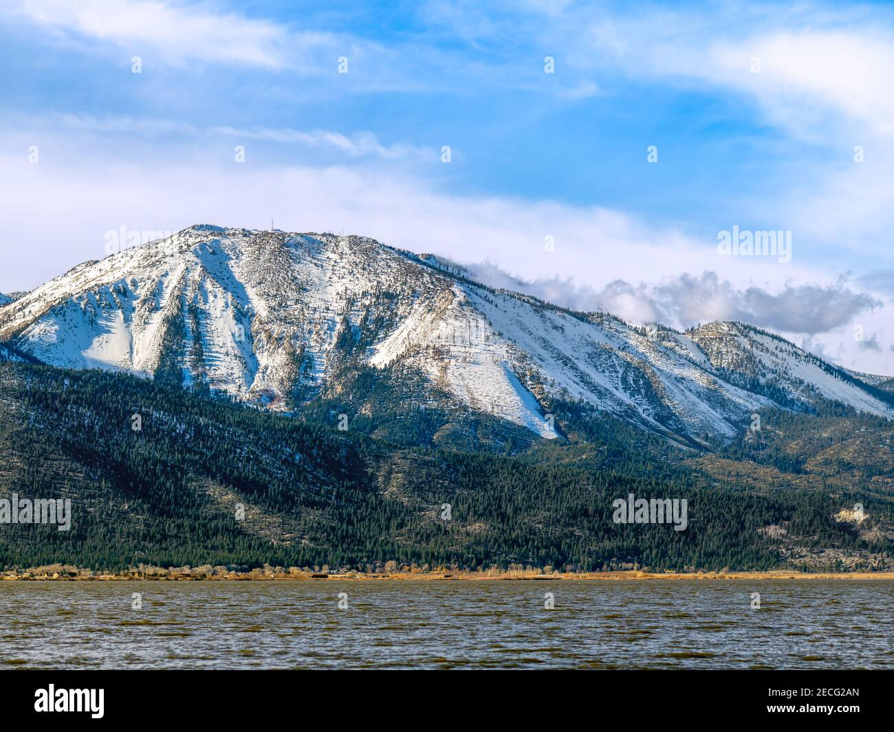 Snow covered Mt. Rose and Slide Mountain near Reno, Nevada Stock Photo