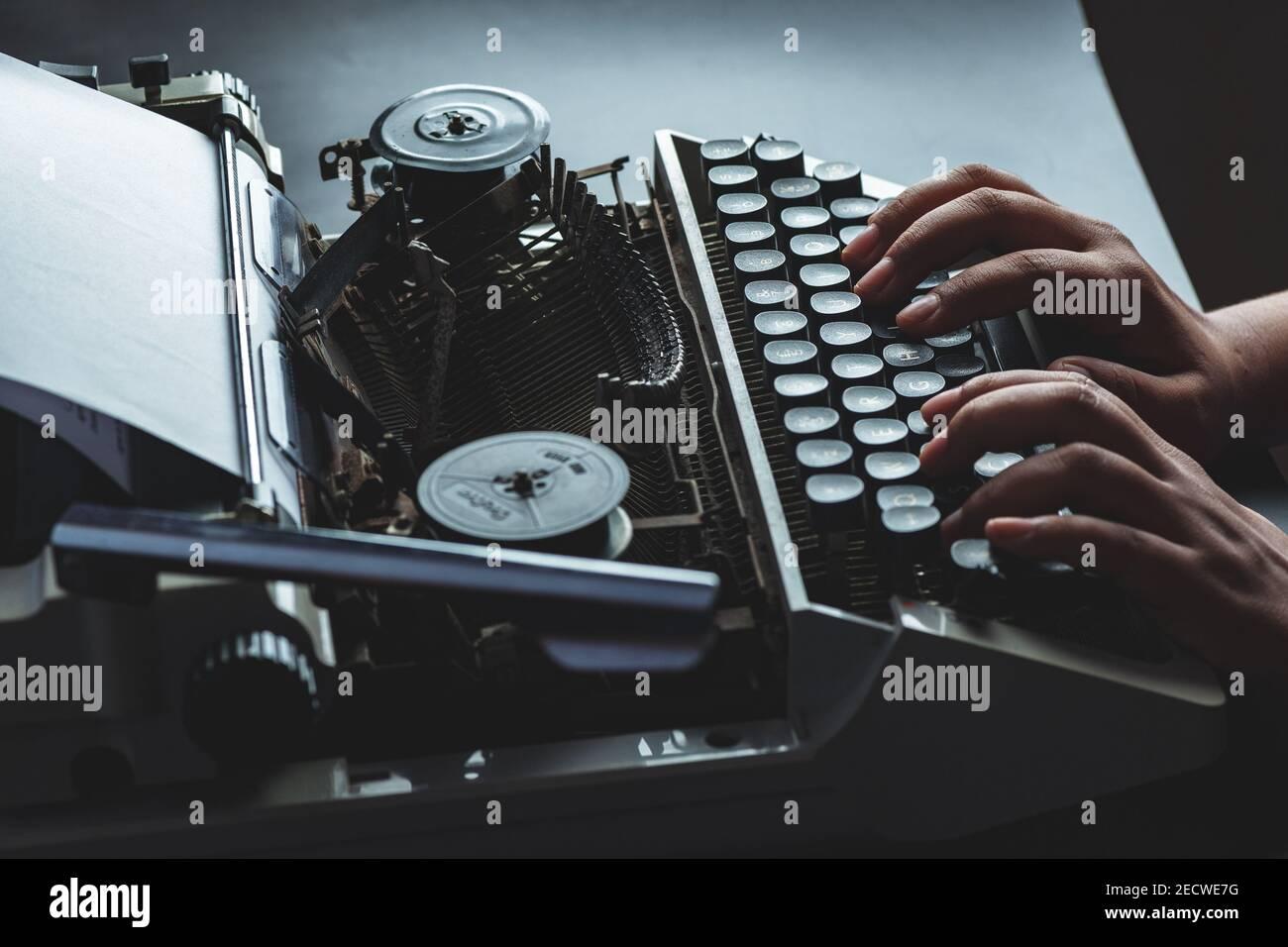Old black and white indian manual model typewriter Stock Photo