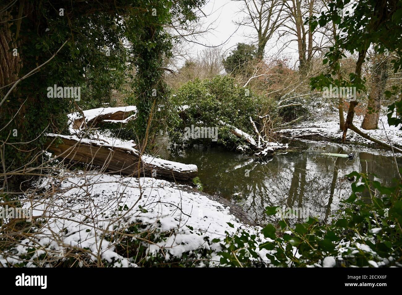 Snowscene, Foots Cray Meadows, Sidcup, Kent. UK Stock Photo