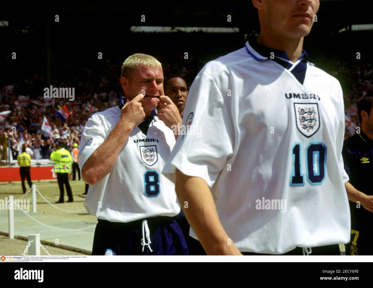 Football - 1996 European Championships - Euro 96 Quarter Final - England v Spain - Wembley Stadium - 22/6/96  England's Paul Gascoigne pulls faces and clowns around as he takes to the field  Mandatory Credit: Action Images  FILM Stock Photo