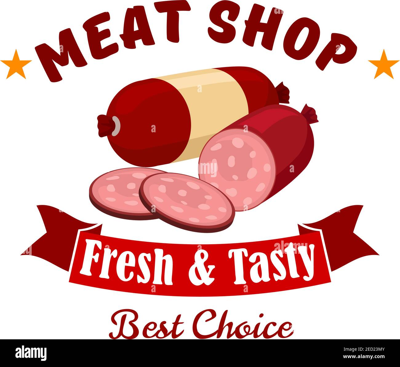 Meat shop business emblem. Vector label of butcher shop with elements of fresh meat products wurst, salami, smoked sliced sausage, red ribbon. Design Stock Vector