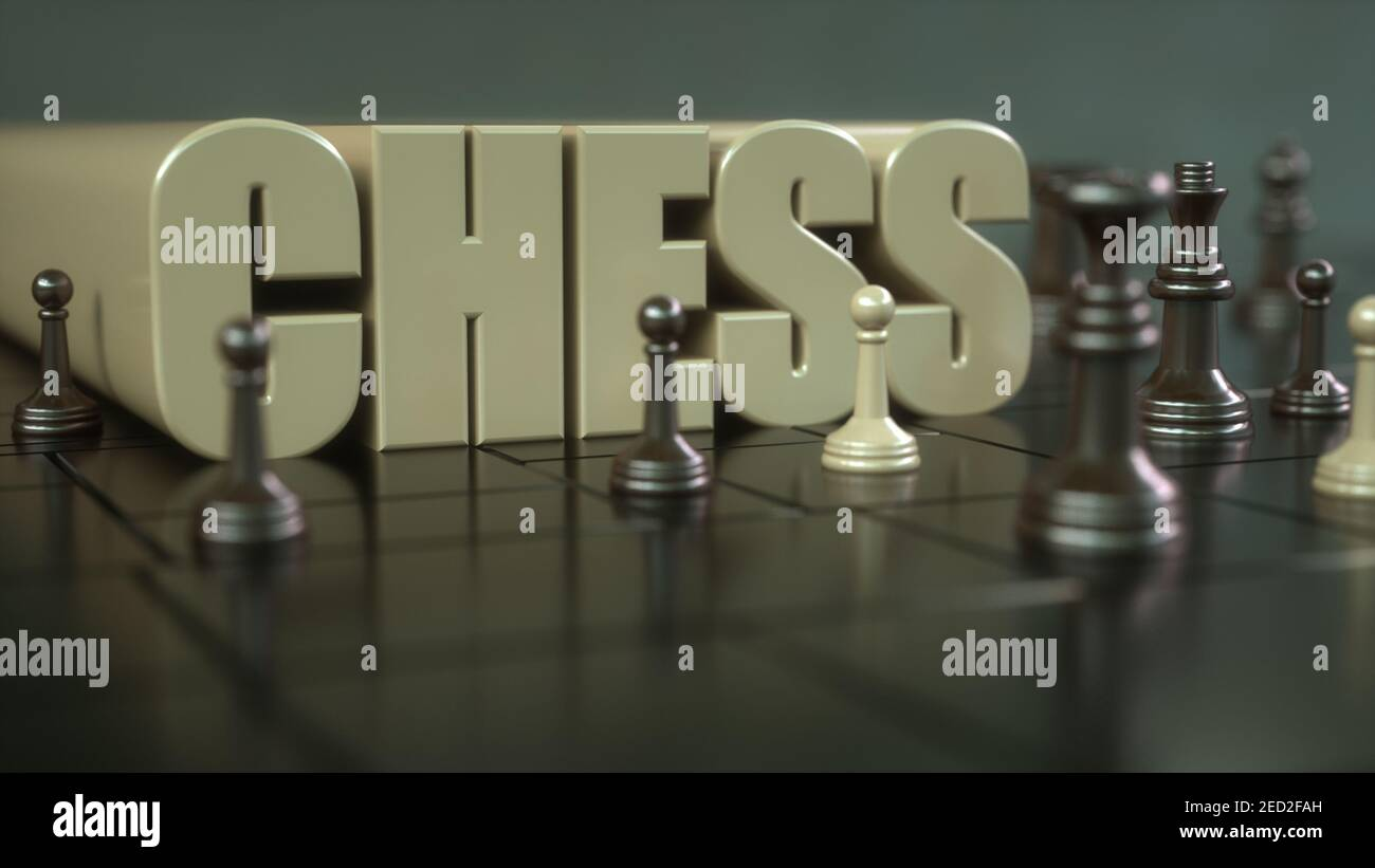 3d render. Chess board and pieces Stock Photo