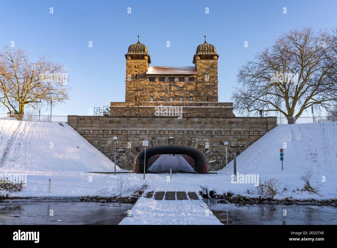 Alte Schleuse am Schleusenpark Waltrop, Nordrhein-Westfalen, Deutschland, Europa   Old lock, Waltrop Lock Park, North Rhine-Westphalia, Germany, Europ Stock Photo