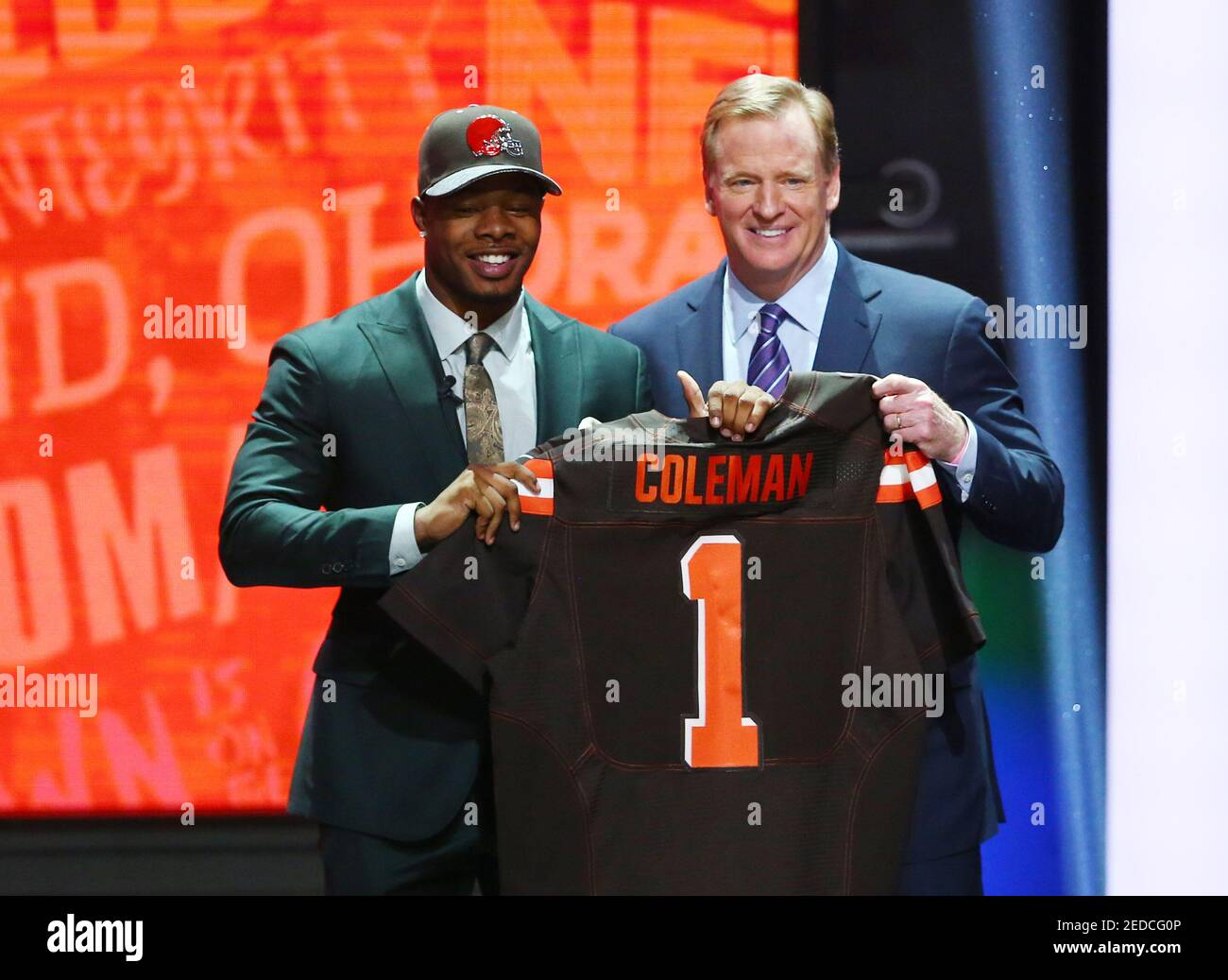 Apr 28, 2016; Chicago, IL, USA; Corey Coleman (Baylor) with NFL commissioner Roger Goodell after being selected by the Cleveland Browns as the number fifteen overall pick in the first round of the 2016 NFL Draft at Auditorium Theatre. Mandatory Credit: Jerry Lai-USA TODAY Sports  / Reuters  Picture Supplied by Action Images   (TAGS: Sport American Football NFL) *** Local Caption *** 2016-04-29T020821Z 1838076610 NOCID RTRMADP 3 NFL-2016-NFL-DRAFT.JPG Stock Photo