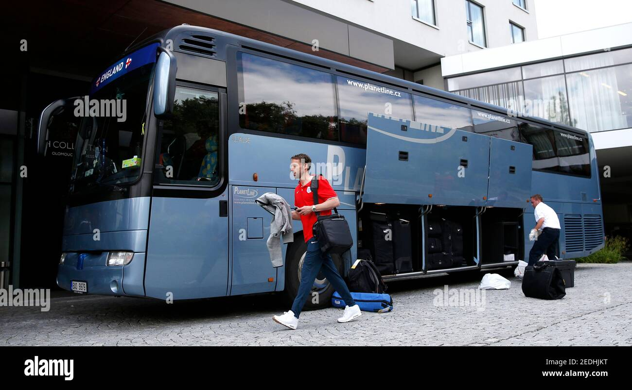 Football - England Under 21 squad leave their hotel following their exit from the tournament - Olomouc, Czech Republic - 25/6/15  England U21 manager Gareth Southgate leaves the team hotel  Mandatory Credit: Action Images / Carl Recine  Livepic Stock Photo