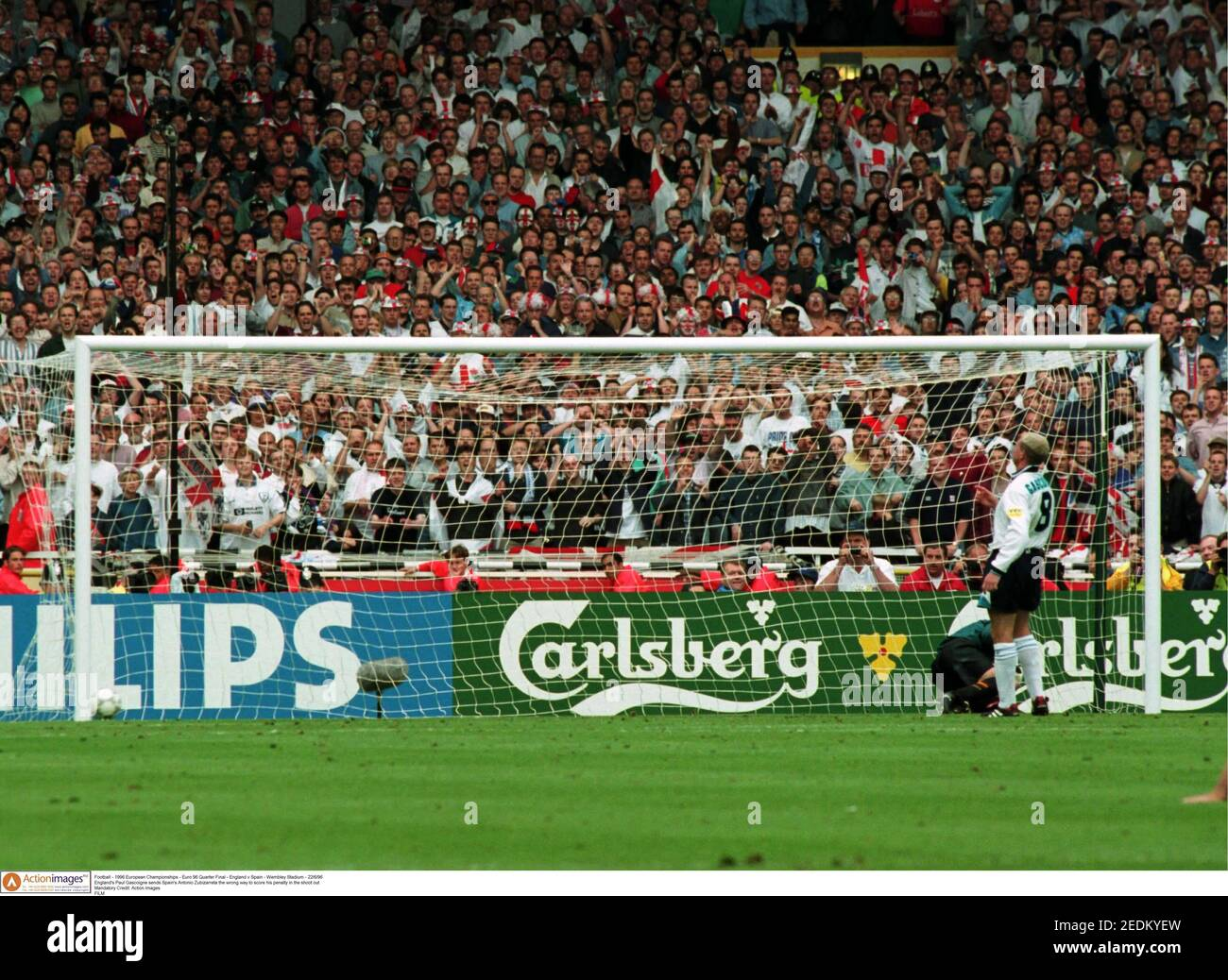 Football - 1996 European Championships - Euro 96 Quarter Final - England v Spain - Wembley Stadium - 22/6/96  England's Paul Gascoigne sends Spain's Antonio Zubizarreta the wrong way to score his penalty in the shoot out  Mandatory Credit: Action Images  FILM Stock Photo