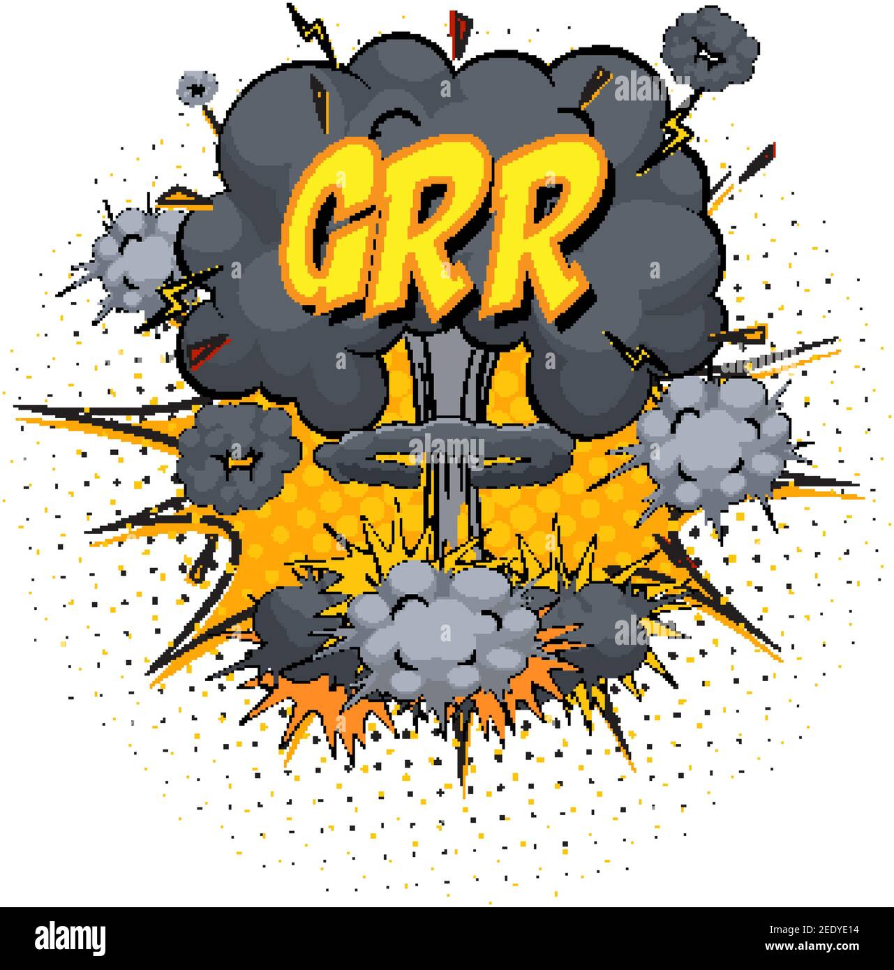 GRR text on comic cloud explosion isolated on white background illustration Stock Vector