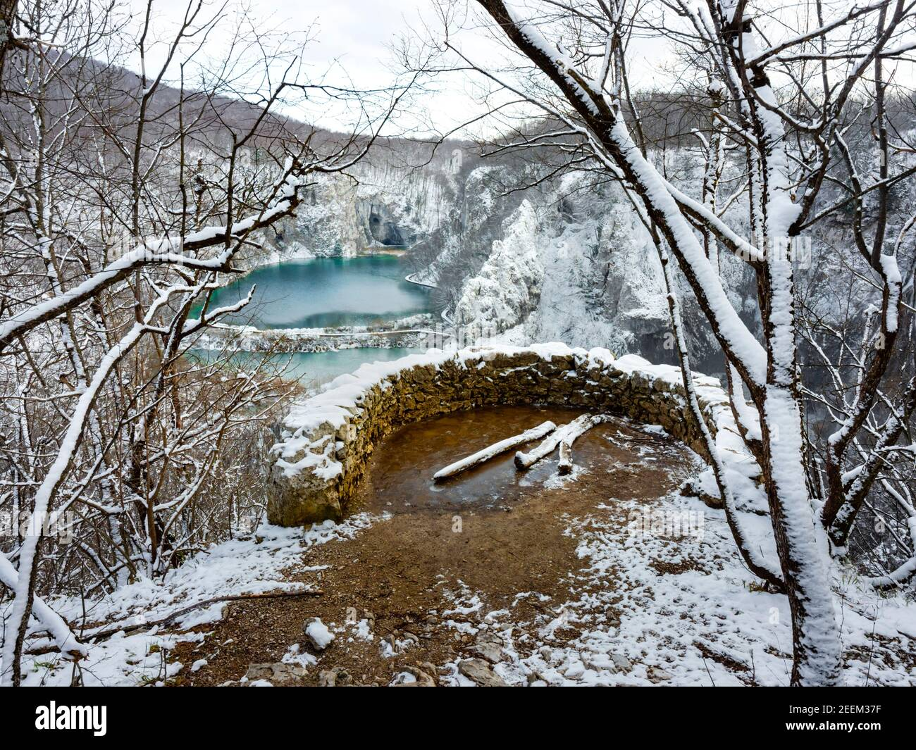 Sightseeing place near Veliki slap waterfall in Plitvice lakes Croatia Europe Winter under covered cover snow ice Stock Photo