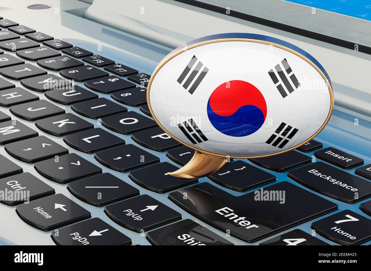 Learn Korean online concept. Speech balloon with South Korean flag, 3D rendering isolated on white background Stock Photo