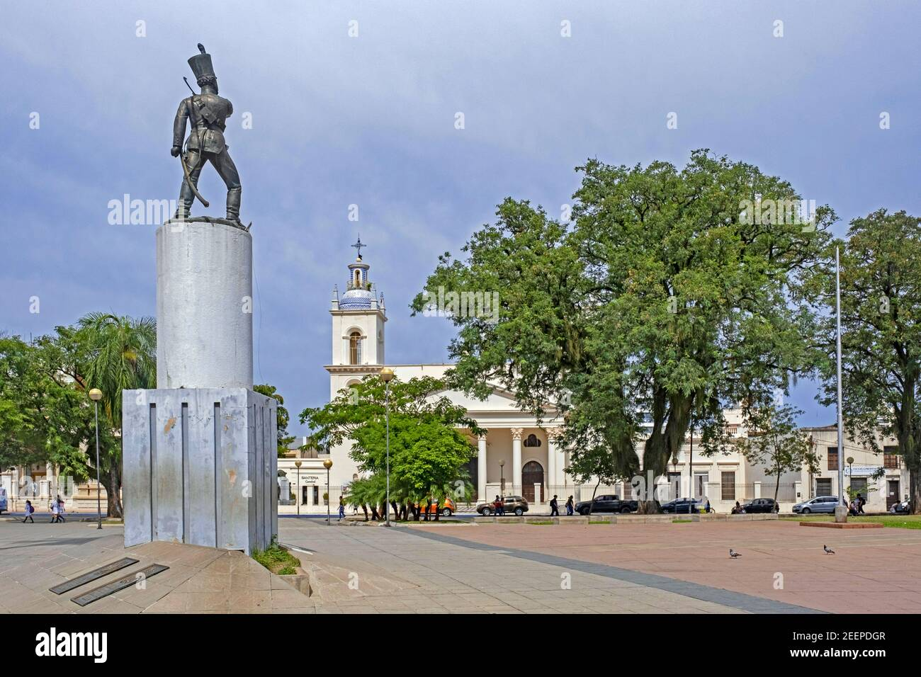 Statue of sergeant Juan Cabral and colonial cathedral at the Plaza Sargento Cabral, main square in the city Corrientes, Corrientes Province, Argentina Stock Photo
