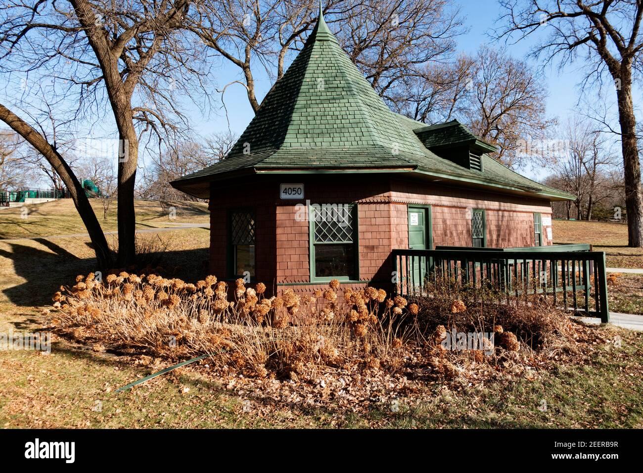 Quaint building at Lake Harriet that has restrooms. Minneapolis Minnesota MN USA Stock Photo