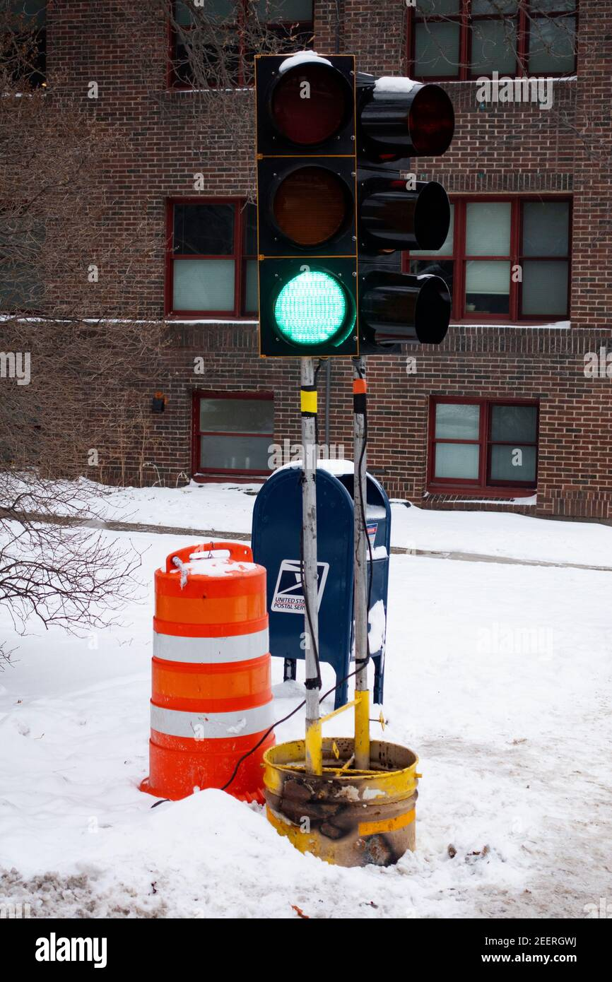 Semaphore standing in a bucket because of an accident. St Paul Minnesota MN USA Stock Photo