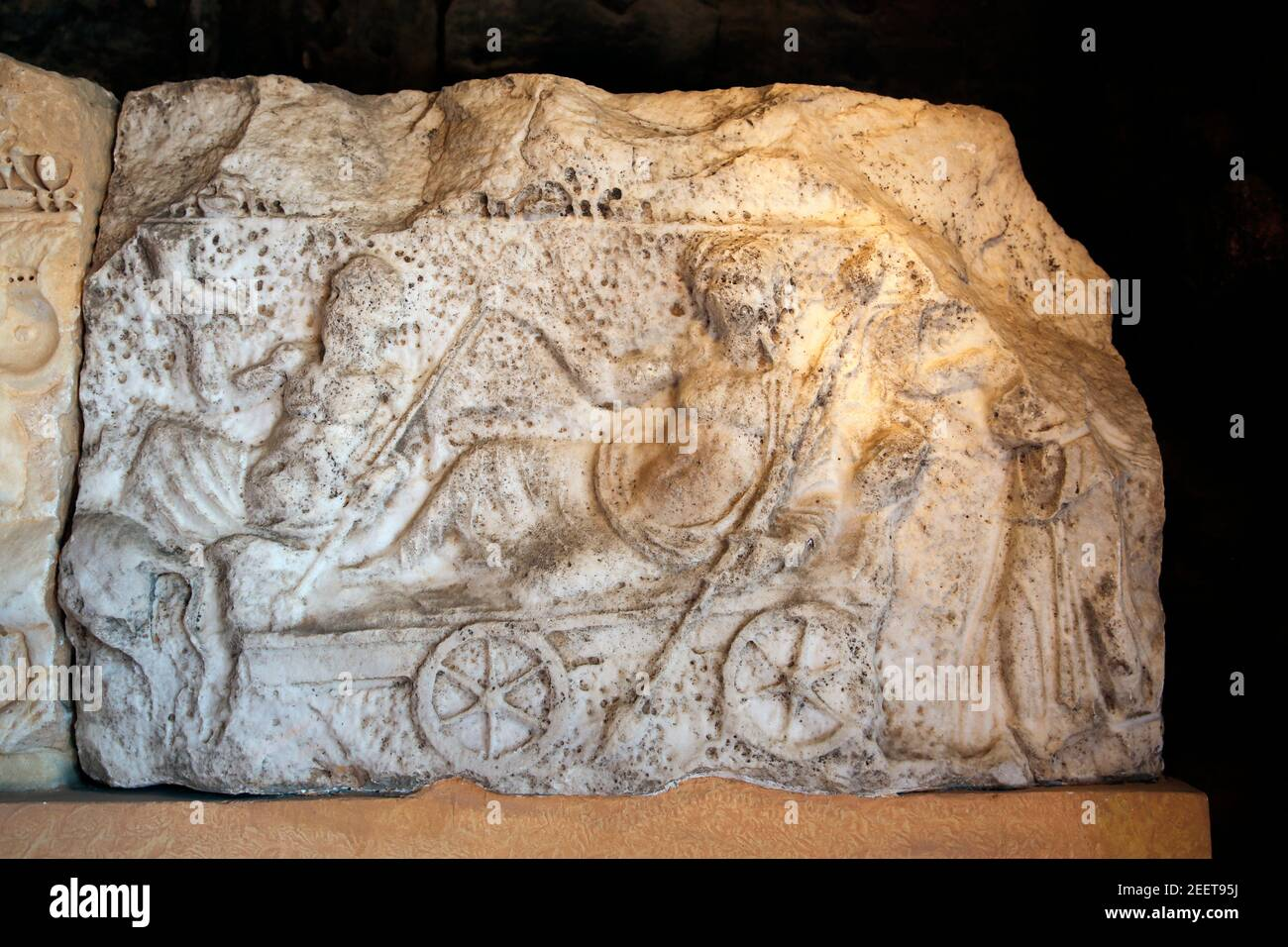 Panel of Hierapolis Theatre scene(Turkey). Dionysos who joins in the vintage festival is accompanied by Nymphs, Satyrs, Eros and kentauri (horse-men) Stock Photo