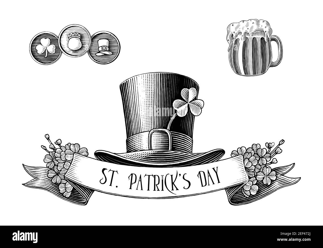 Saint Patrick's Day logo hand draw vintage engraving style black and white clip art isolated on white background Stock Vector