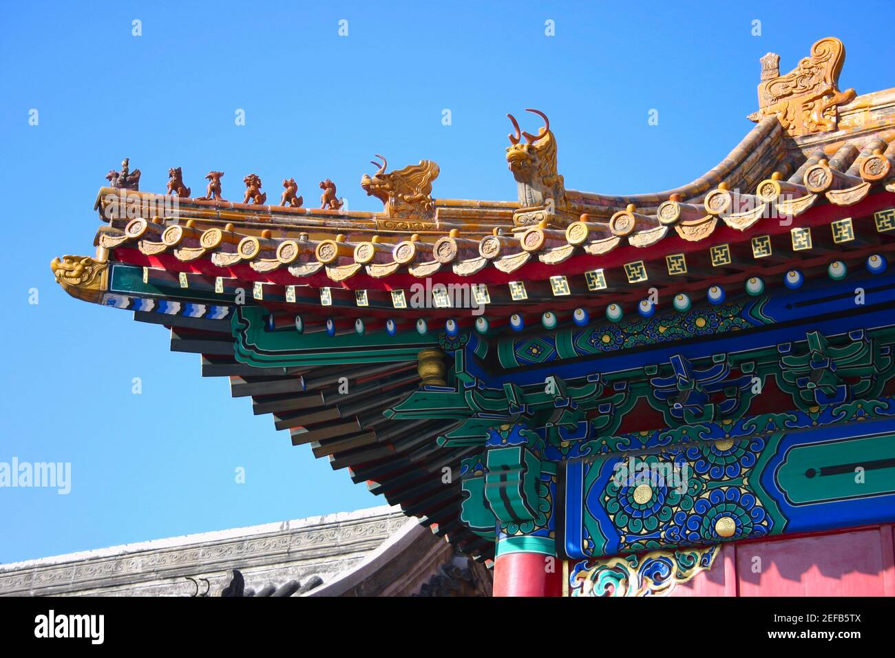 Low angle view of the roof of a palace, Forbidden City, Beijing, China Stock Photo