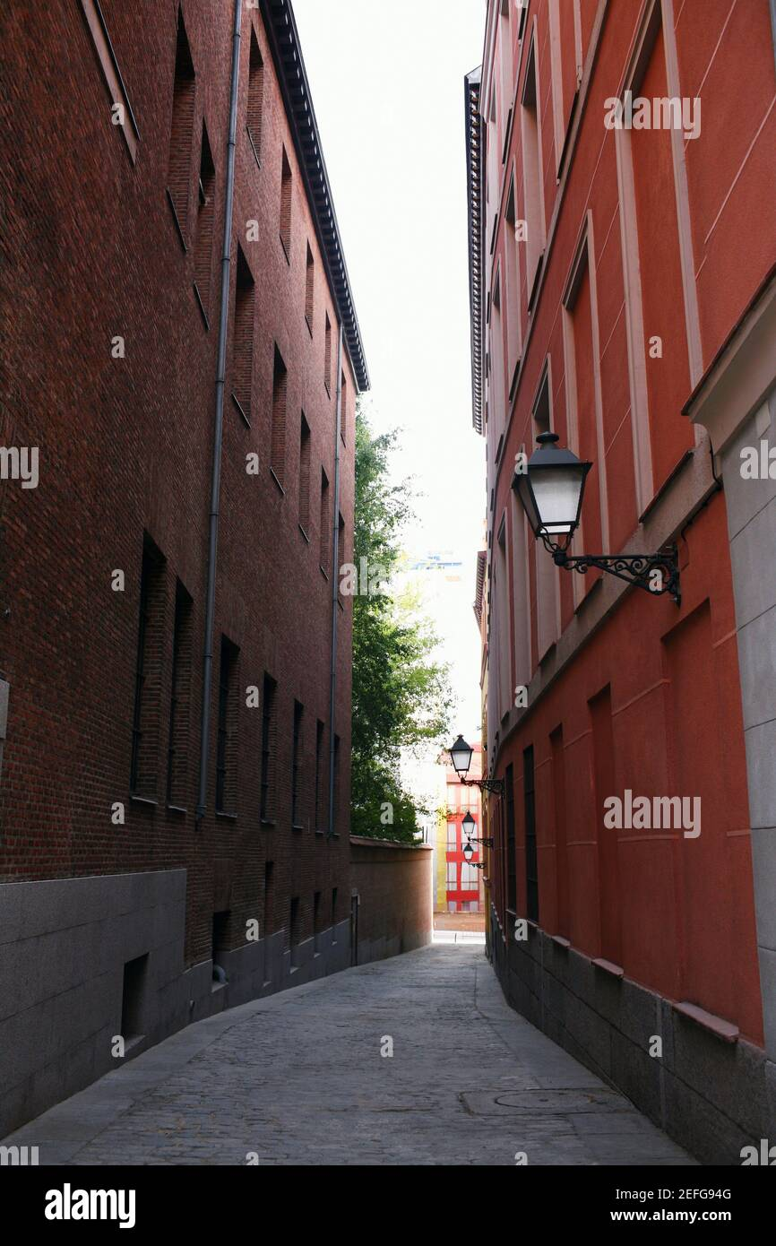 Buildings on both sides of an alley, Madrid, Spain Stock Photo
