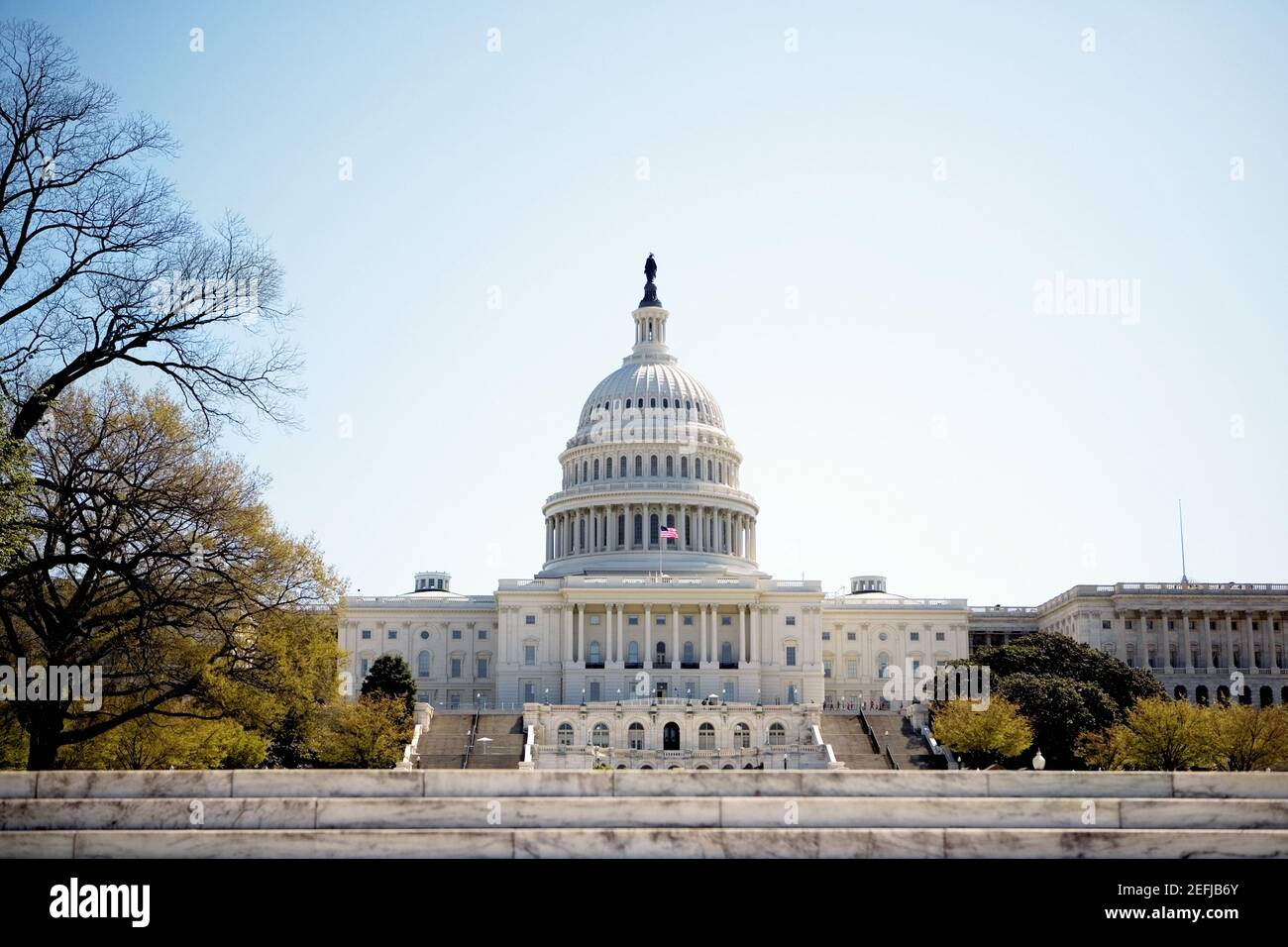 Low angle view of United States Capitol Building, Washington DC, USA Stock Photo