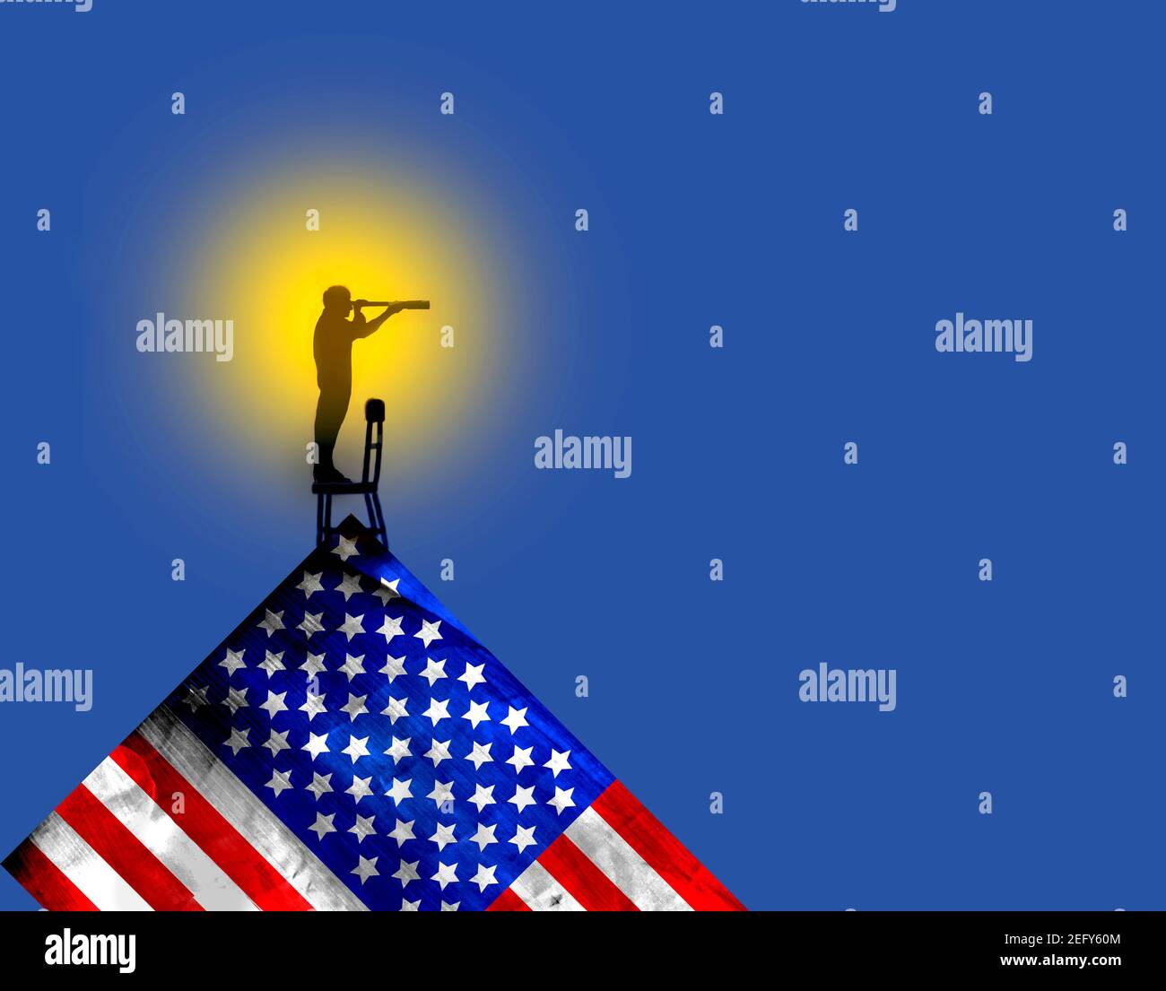 Man standing on American flag looking through telescope Stock Photo